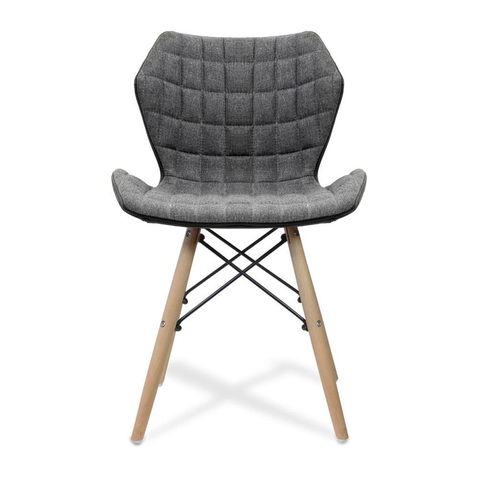Amelia Stylish Lightweight Fabric Chair with Solid Beech Legs and Panel Stitching - Grey