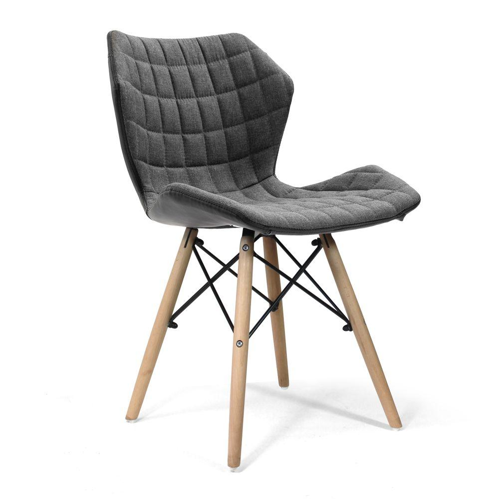 Amelia Stylish Lightweight Fabric Chair with Solid Beech Legs and Contemporary Panel Stitching - Grey