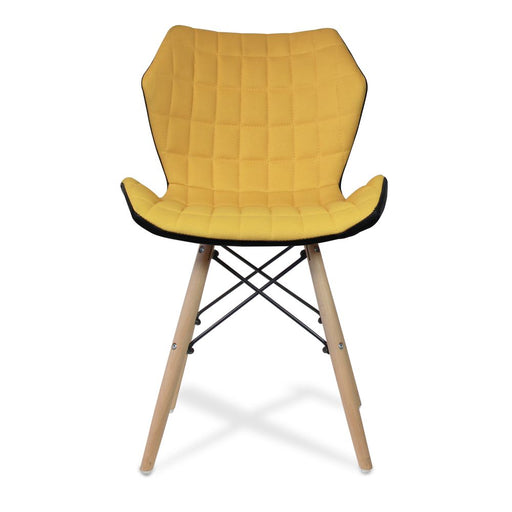 Amelia Stylish Lightweight Fabric Chair with Solid Beech Legs and Panel Stitching - Mustard