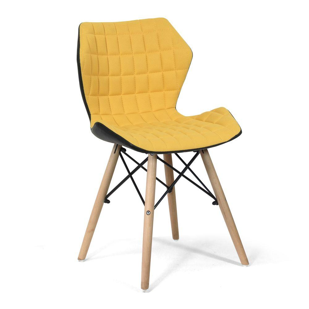 Amelia Stylish Lightweight Fabric Chair with Solid Beech Legs and Contemporary Panel Stitching - Mustard