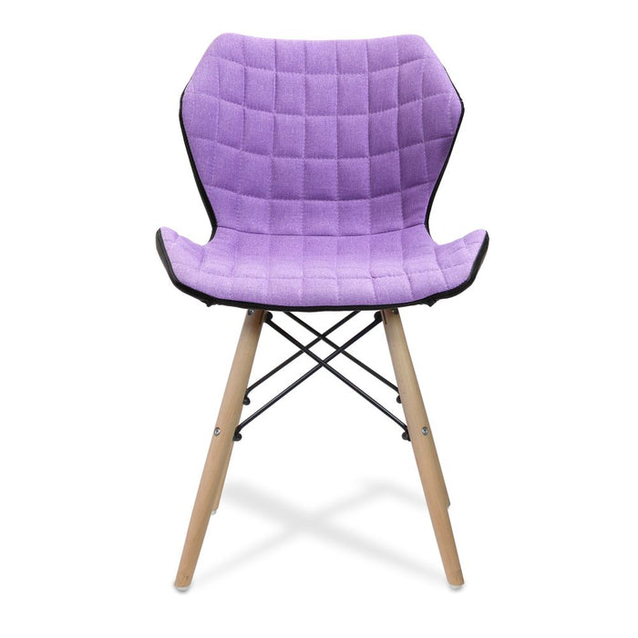 Amelia Stylish Lightweight Fabric Chair with Solid Beech Legs and Panel Stitching - Purple