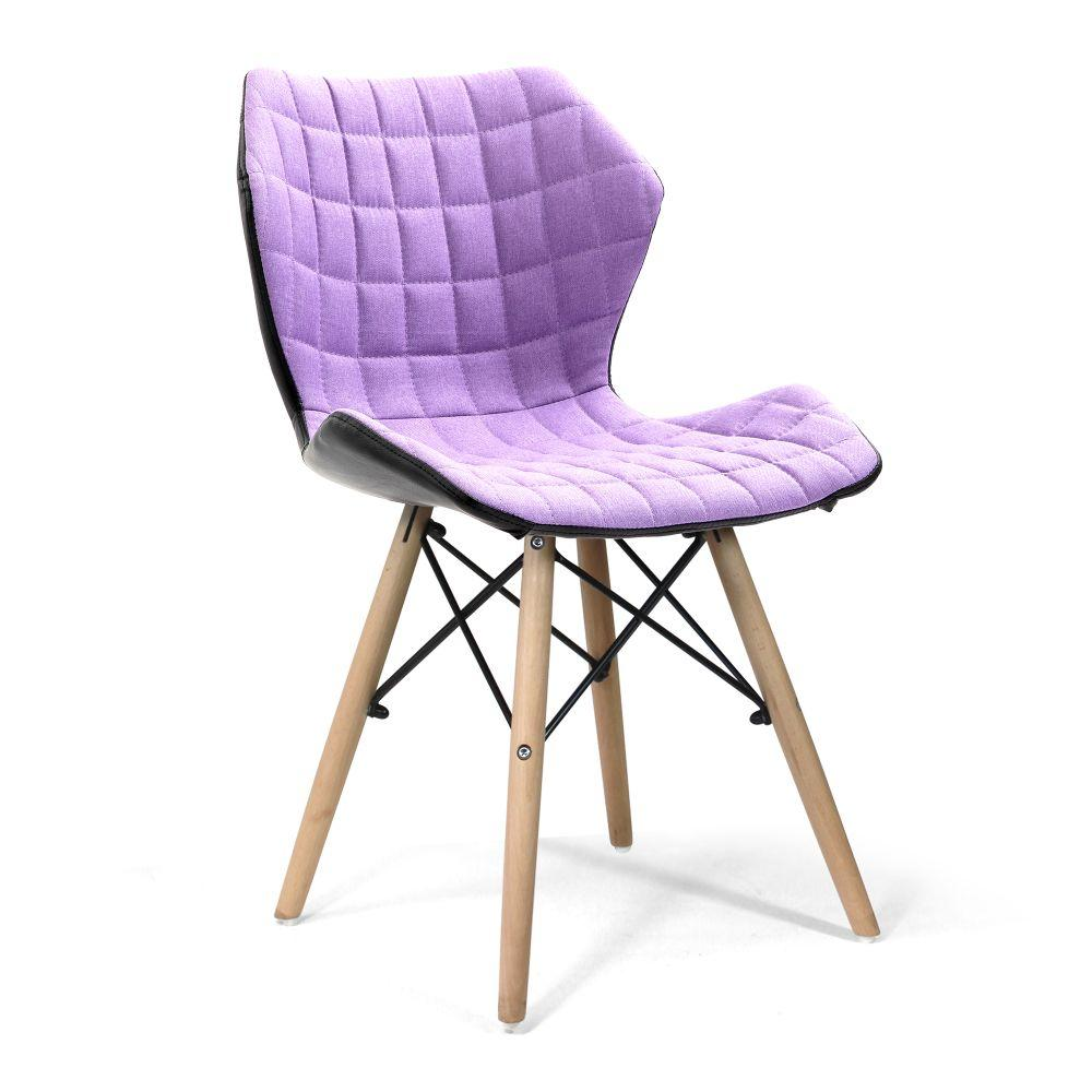Amelia Stylish Lightweight Fabric Chair with Solid Beech Legs and Contemporary Panel Stitching - Purple