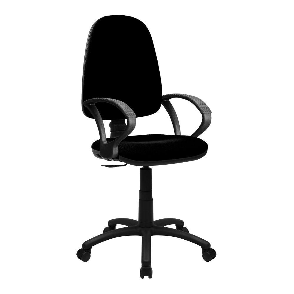 Java 100 Medium Back Operator Chair - Single Lever with Fixed Arms - Black
