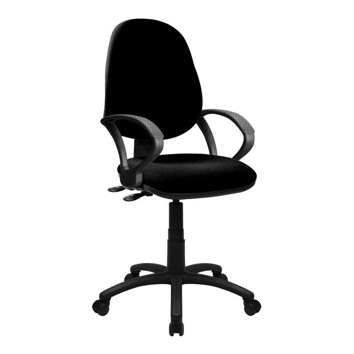 Java 200 Medium Back Operator Chair - Twin Lever with Fixed Arms - Black