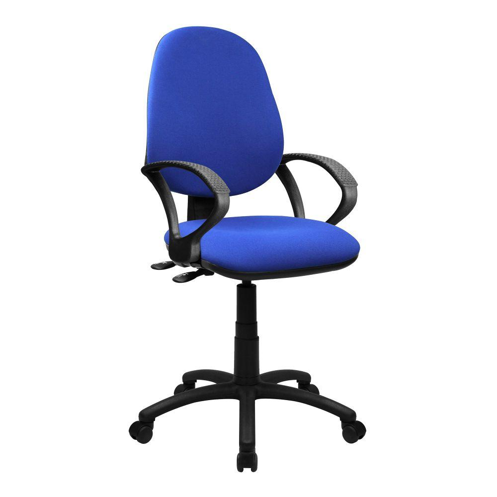 Java 200 Medium Back Operator Chair - Twin Lever with Fixed Arms - Blue