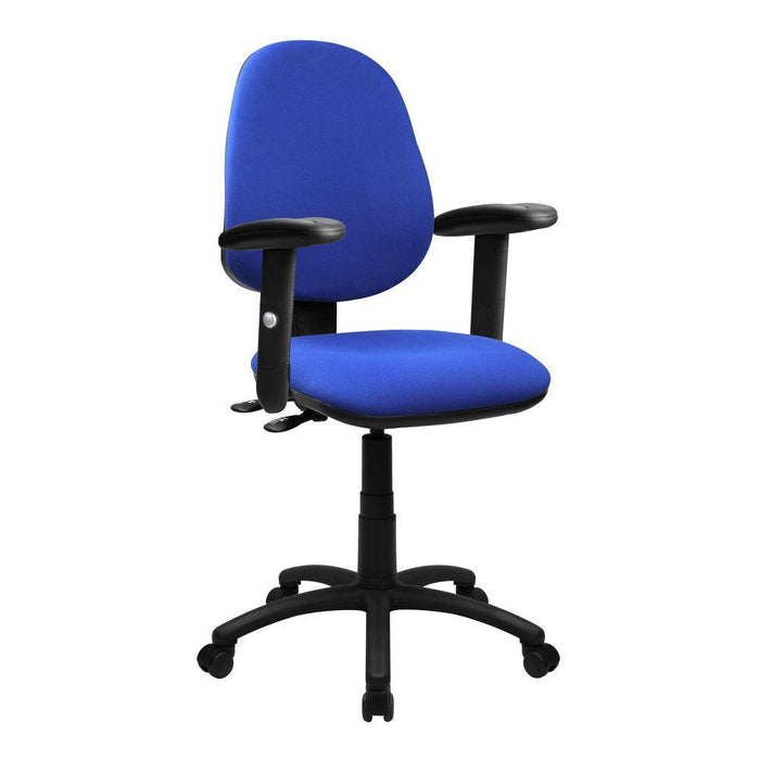 Java 300 Medium Back Synchronous Operator Chair - Triple Lever with Height Adjustable Arms - Blue
