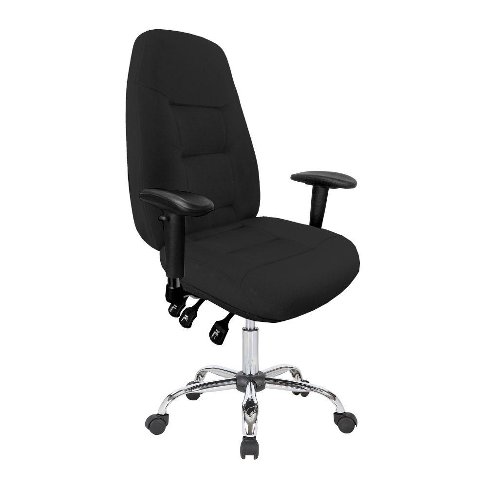 Babylon 24 Hour Synchronous Operator Chair with Fabric Upholstery and Chrome Base - Black