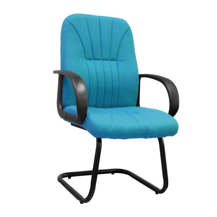 Pluto Cantilever Framed visitor Armchair with Sculptured High Back and Fan Stitching Pattern Design - Aqua