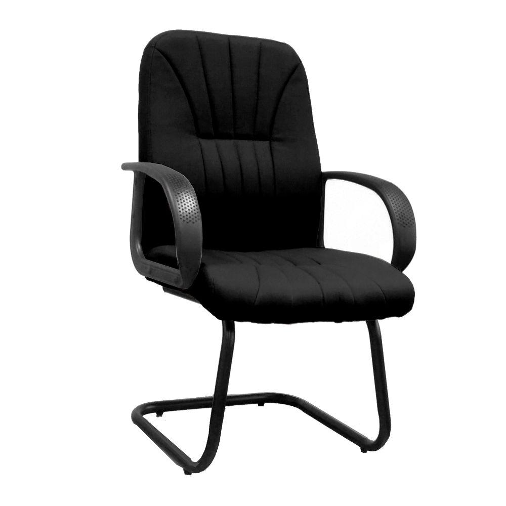 Pluto Cantilever Framed visitor Armchair with Sculptured High Back and Fan Stitching Pattern Design - Black