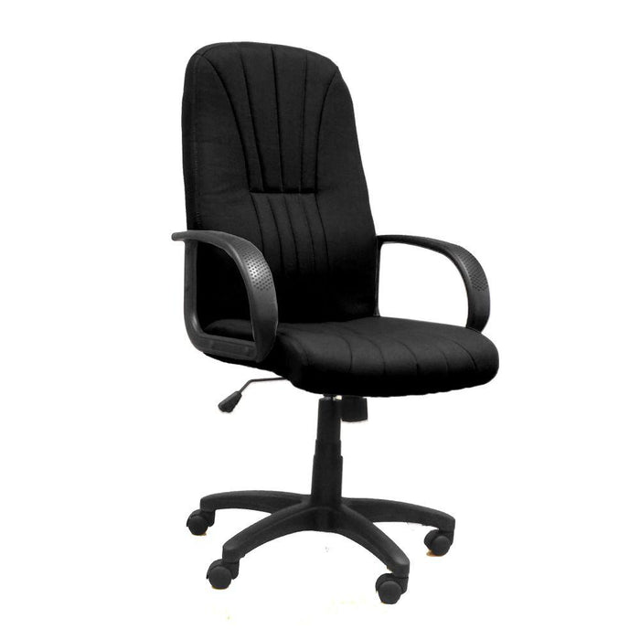 Pluto High Back Executive Armchair with Fan Stitch Design and Sculptured Back - Black