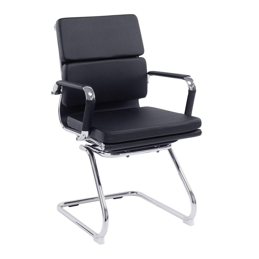 Avanti Bonded Leather Medium Back Visitor Armchair with Individual Back Cushions and Chrome Arms & Base - Black