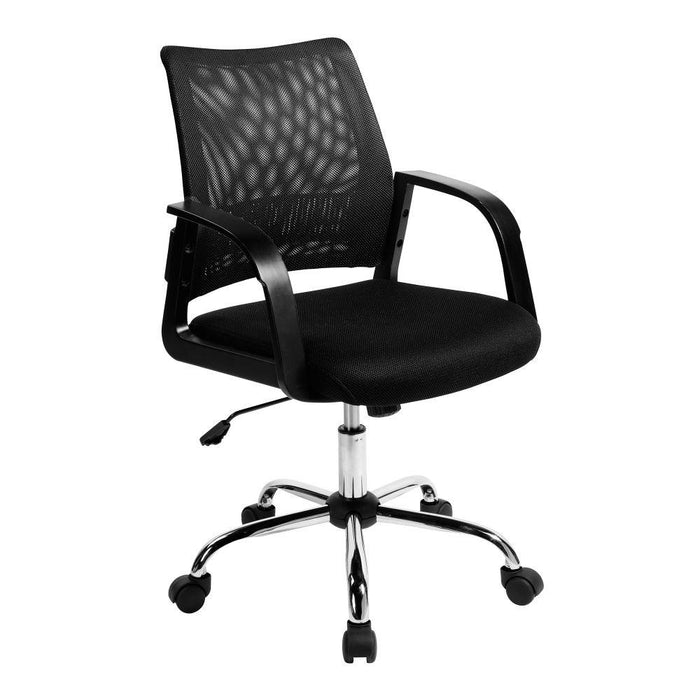 Calypso Medium Mesh Back Task Operator Armchair with Chrome Base - Black