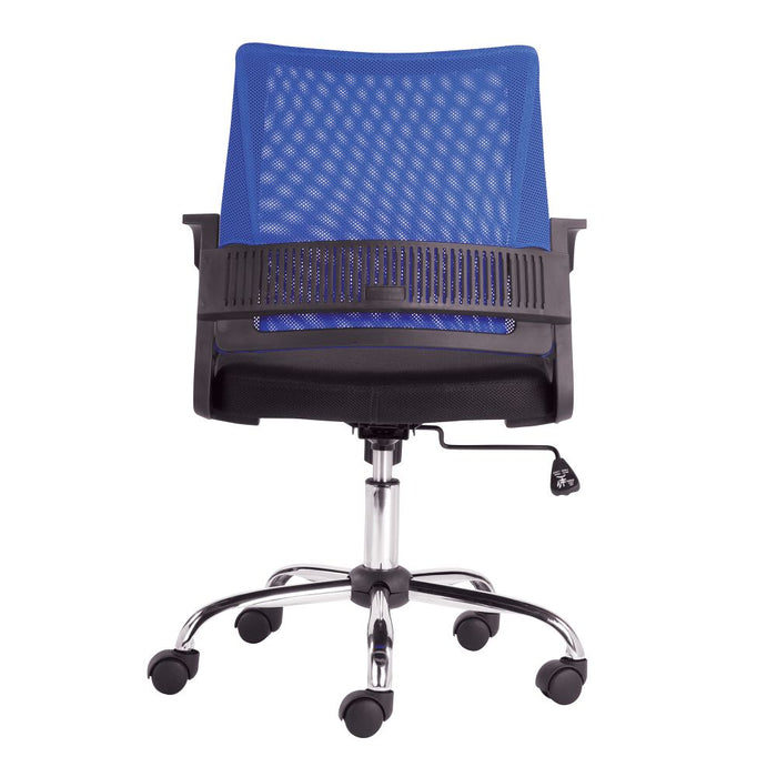 Calypso Medium Mesh Back Task Operator Armchair with Chrome Base - Blue