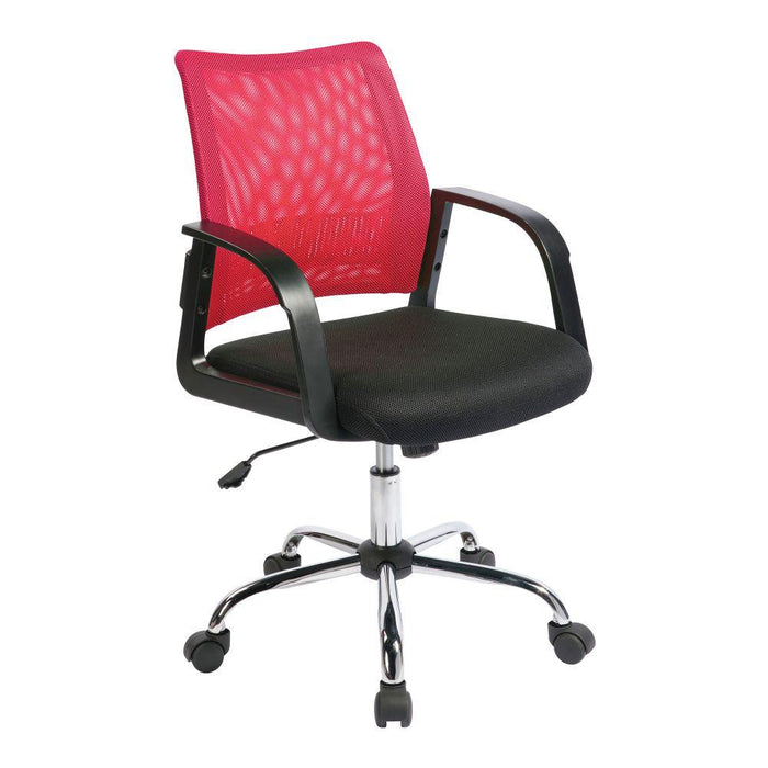 Calypso Medium Mesh Back Task Operator Armchair with Chrome Base - Raspberry