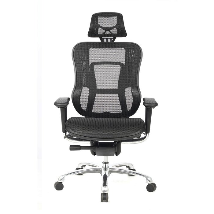 Aztec High Back Synchronous Mesh Designer Executive Chair with Adjustable Headrest and Chrome Base - Black