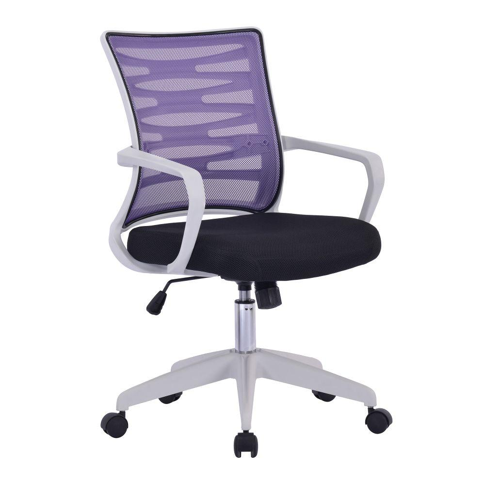 Spyro Designer Mesh Armchair with White Frame and Detailed Back Panelling - Purple