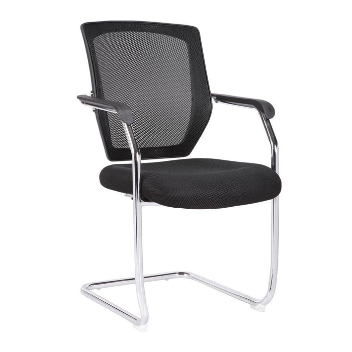 Nexus Medium Back Two Tone Designer Mesh Visitor Chair with Sculptured Lumbar, Spine Support and Integrated Armrests - Black