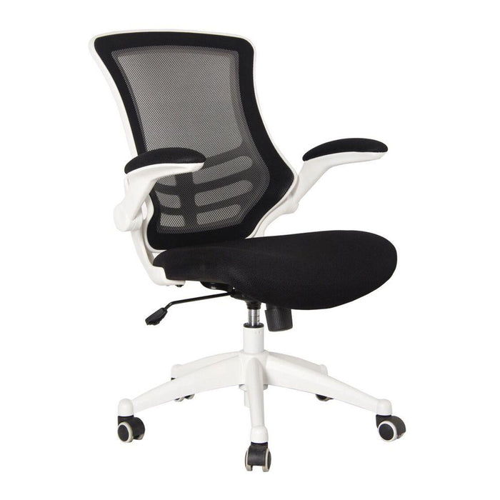 Luna Designer Medium Back Mesh Chair with White Shell and Folding Arms - Black