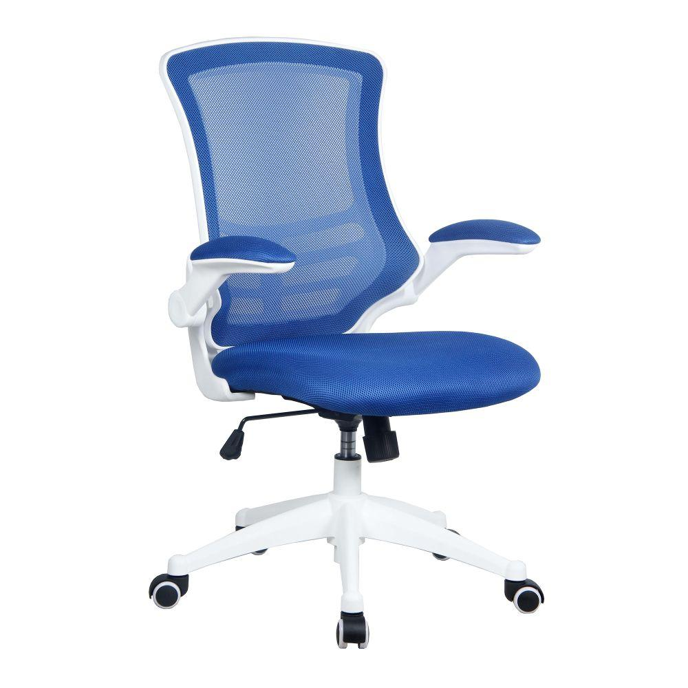 Luna Designer Medium Back Mesh Chair with White Shell and Folding Arms - Blue
