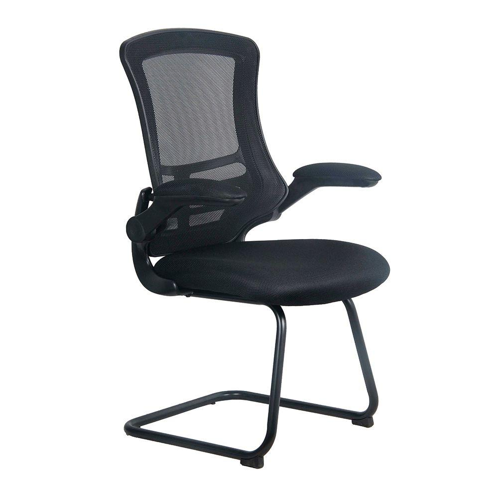 Luna Designer Medium Back Mesh Cantilever Chair with Black Shell, Black Frame and Folding Arms - Black