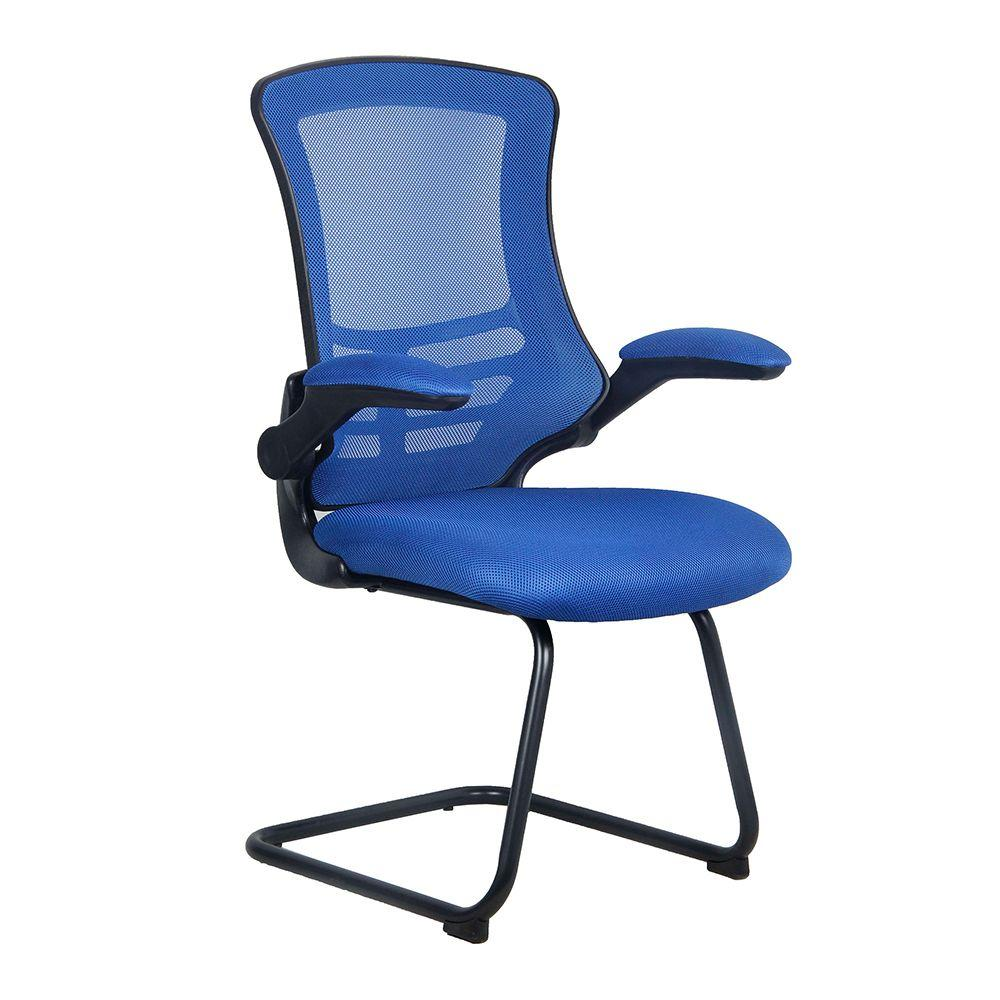 Luna Designer Medium Back Mesh Cantilever Chair with Black Shell, Black Frame and Folding Arms - Blue