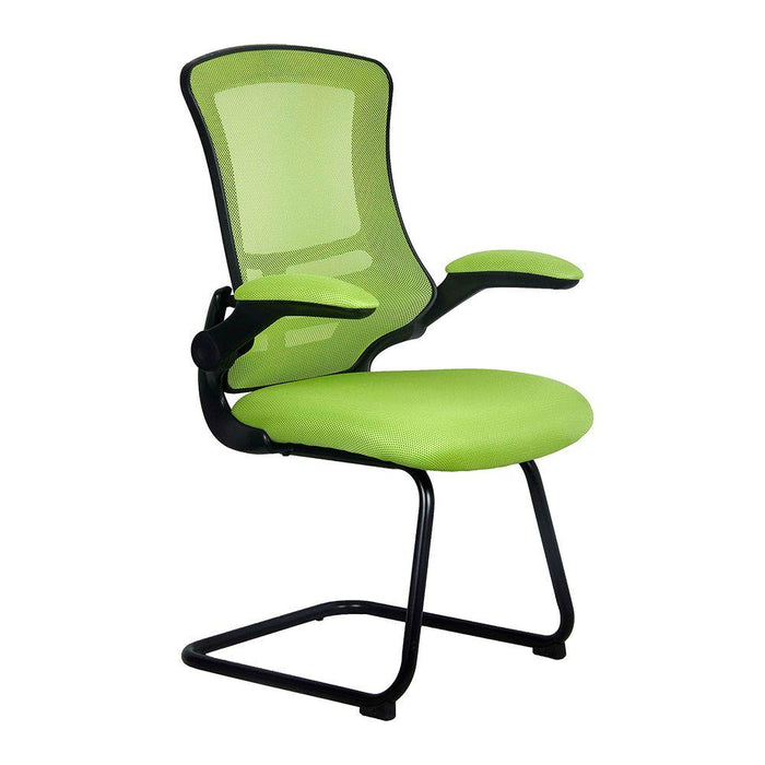 Luna Designer Medium Back Mesh Cantilever Chair with Black Shell, Black Frame and Folding Arms - Green