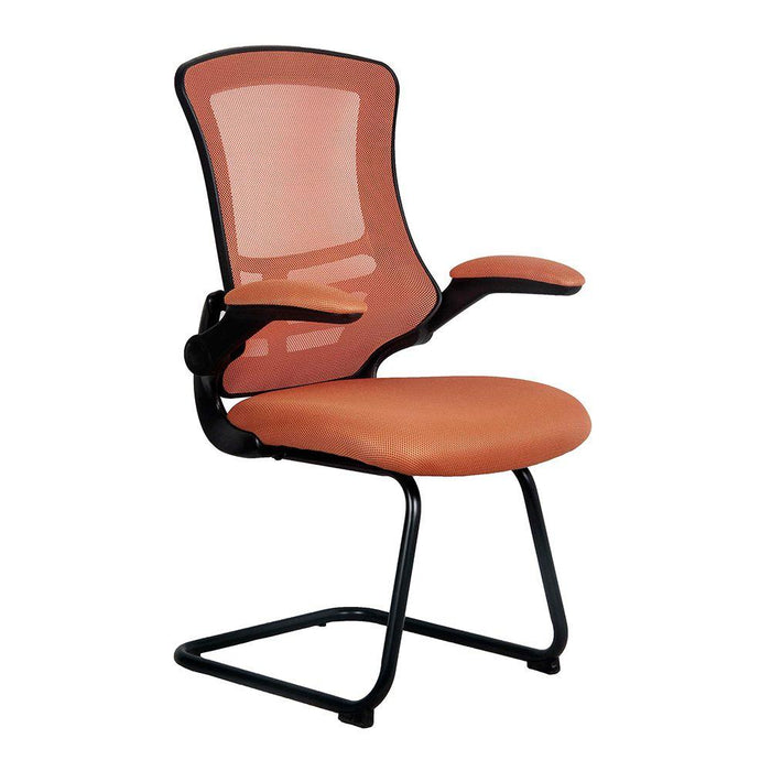 Luna Designer Medium Back Mesh Cantilever Chair with Black Shell, Black Frame and Folding Arms - Orange