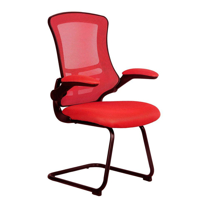 Luna Designer Medium Back Mesh Cantilever Chair with Black Shell, Black Frame and Folding Arms - Red