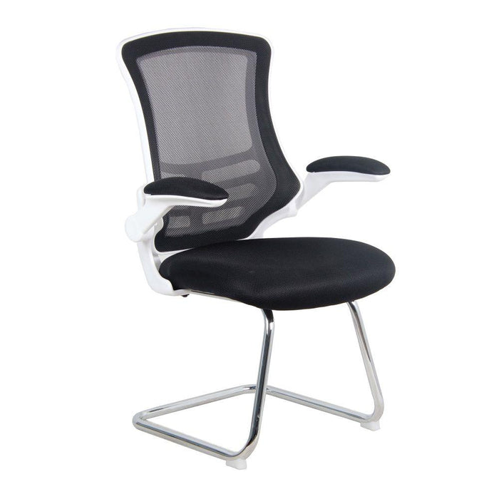 Luna Designer Medium Back Mesh Cantilever Chair with White Shell, Chrome Frame and Folding Arms - Black