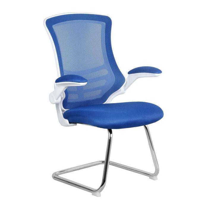 Luna Designer Medium Back Mesh Cantilever Chair with White Shell, Chrome Frame and Folding Arms - Blue