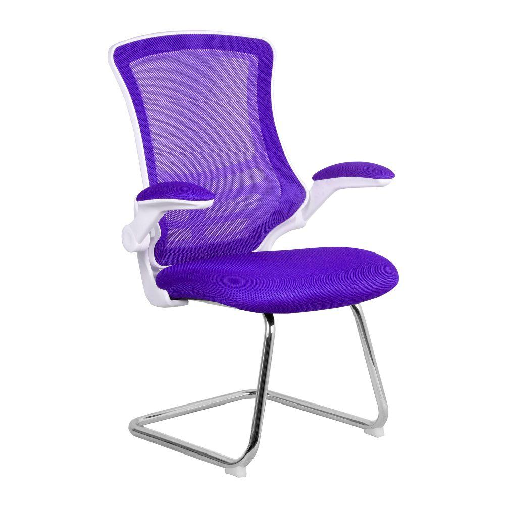 Luna Designer Medium Back Mesh Cantilever Chair with White Shell, Chrome Frame and Folding Arms - Purple