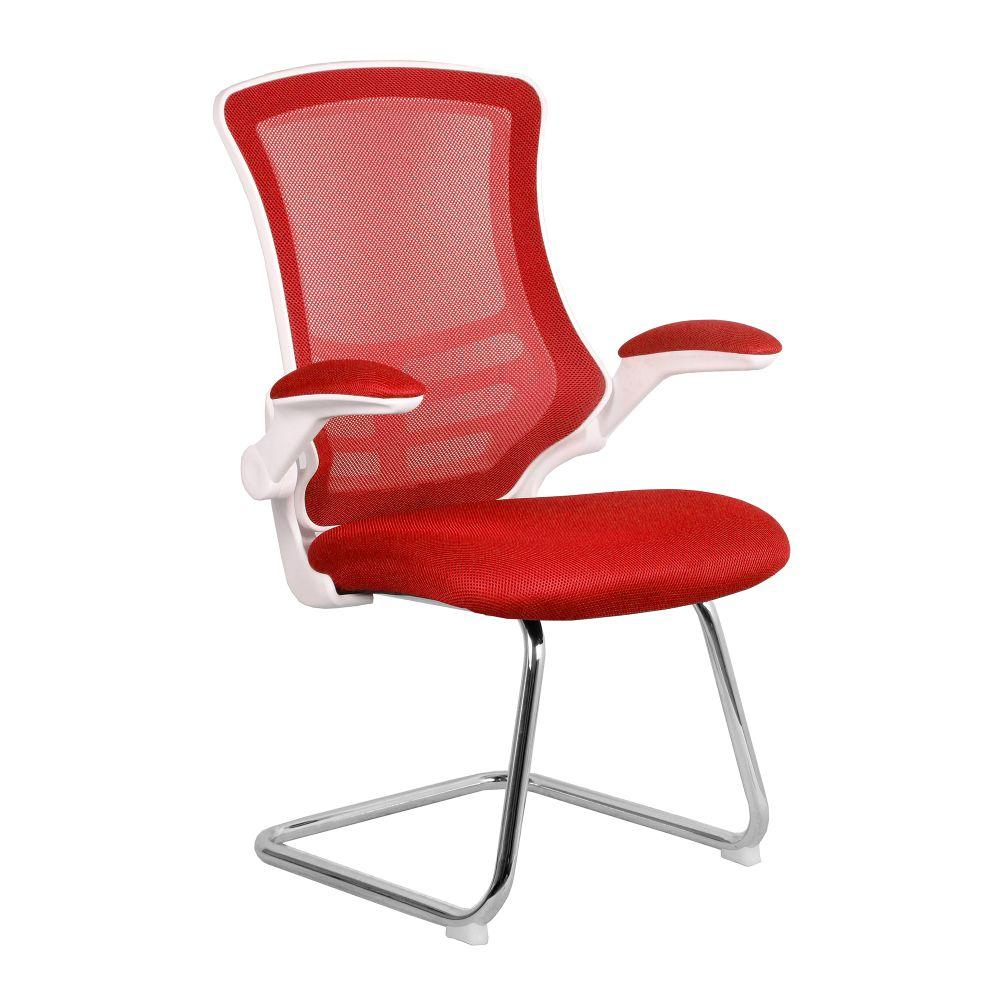 Luna Designer Medium Back Mesh Cantilever Chair with White Shell, Chrome Frame and Folding Arms - Red