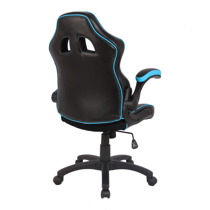 Predator Executive Ergonomic Gaming Style Office Chair with Folding Arms, Integral Headrest and Lumbar Support - Black/Blue