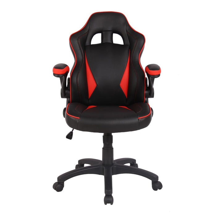 Predator Executive Ergonomic Gaming Style Office Chair with Folding Arms, Integral Headrest and Lumbar Support - Black/Red