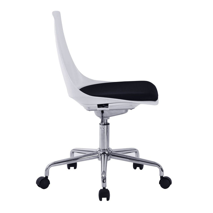 Flow Designer Poly Swivel Chair with White Shell and Chrome Base