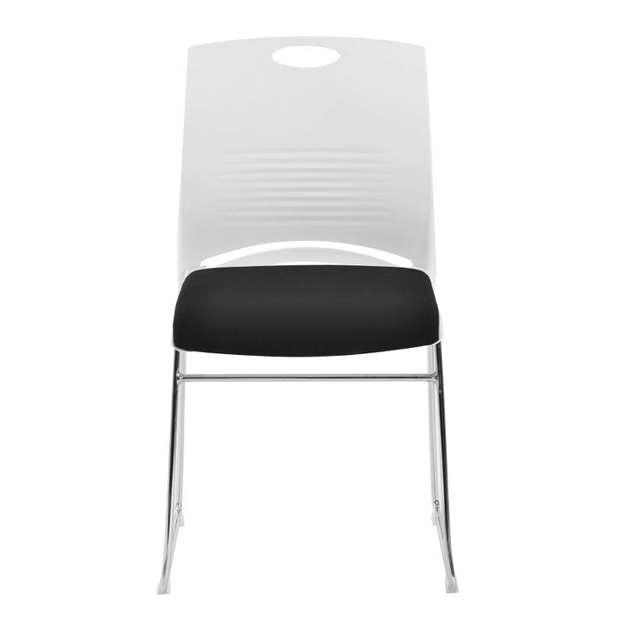 Kore Stackable Chrome Frame Chair with Padded Seat, White Shell and Hand Hole in Backrest - 2 per Box - Black