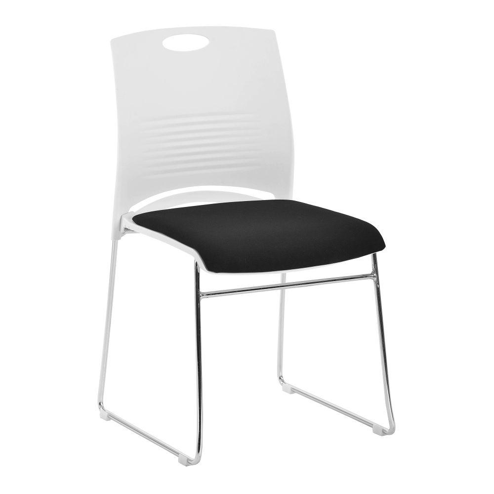 Kore Stylish Stackable Chrome Frame Chair with Padded Upholstered Seat, White Shell and Hand Hole in Backrest - 2 per Box - Black