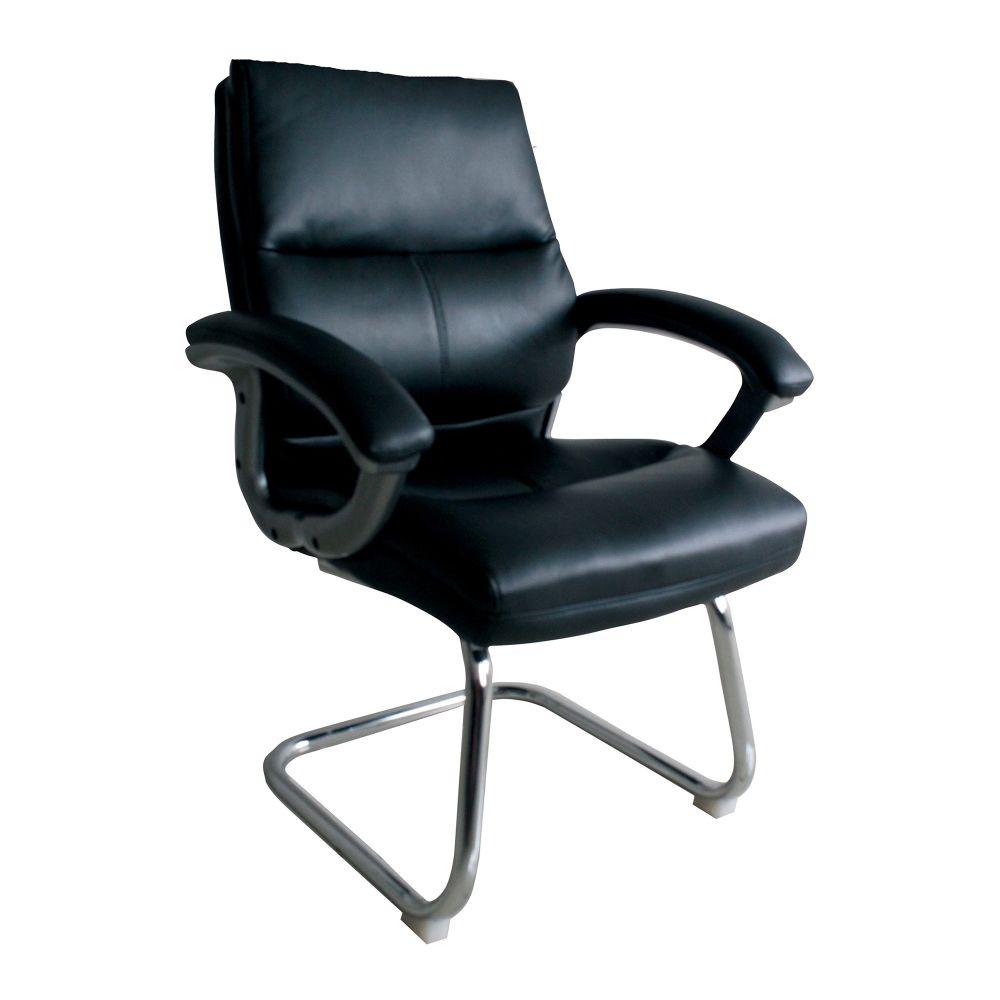 Greenwich Medium Back Leather Effect Executive Visitor Armchair with Contoured Design Backrest and Chrome Base - Black
