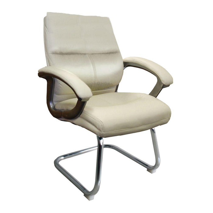 Greenwich Medium Back Leather Effect Executive Visitor Armchair with Contoured Design Backrest and Chrome Base - Cream