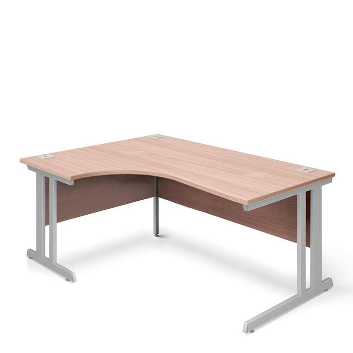 Aspire Ergonomic Left Hand Corner Desk - 1600mm Wide - 800-1200mm Deep - Beech Top - Silver Legs