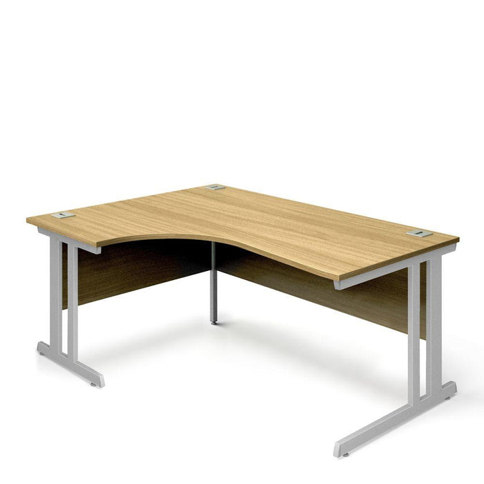 Aspire Ergonomic Left Hand Corner Desk - 1600mm Wide - 800-1200mm Deep - Oak Top - Silver Legs