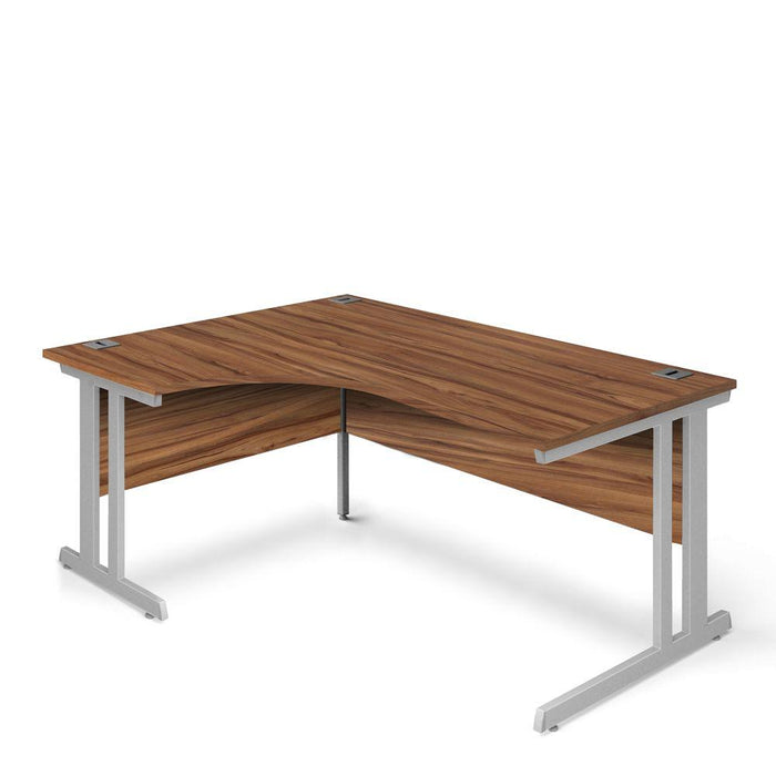 Aspire Ergonomic Left Hand Corner Desk - 1600mm Wide - 800-1200mm Deep - Walnut Top - Silver Legs