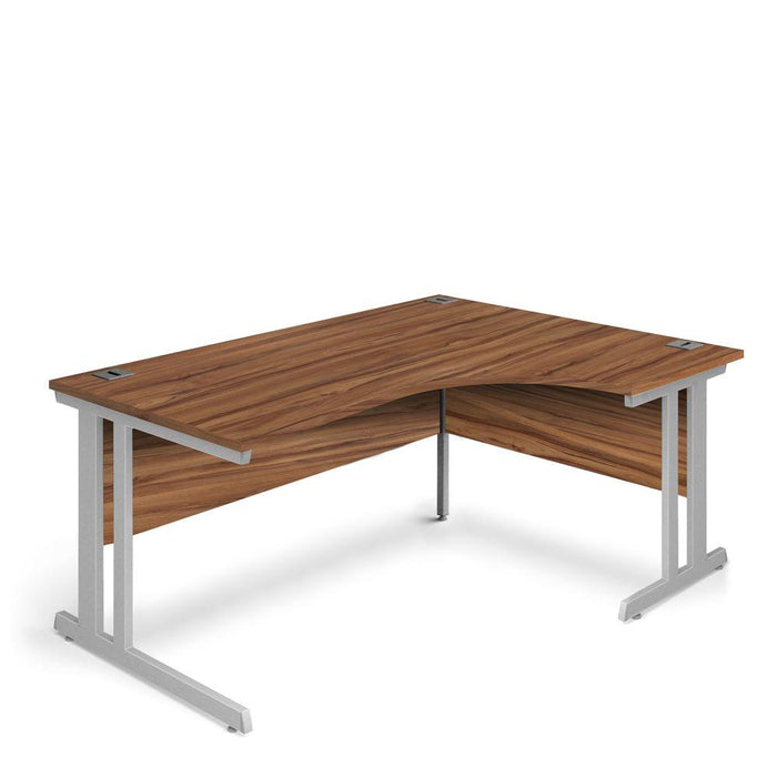 Aspire Ergonomic Right Hand Corner Desk - 1600mm Wide - 800-1200mm Deep - Walnut Top - Silver Legs