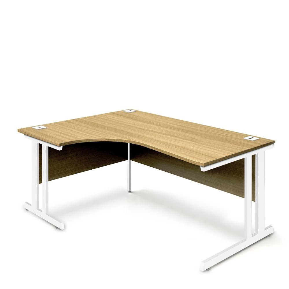 Aspire Ergonomic Left Hand Corner Desk - 1600mm Wide - 800-1200mm Deep - Oak Top - White Legs