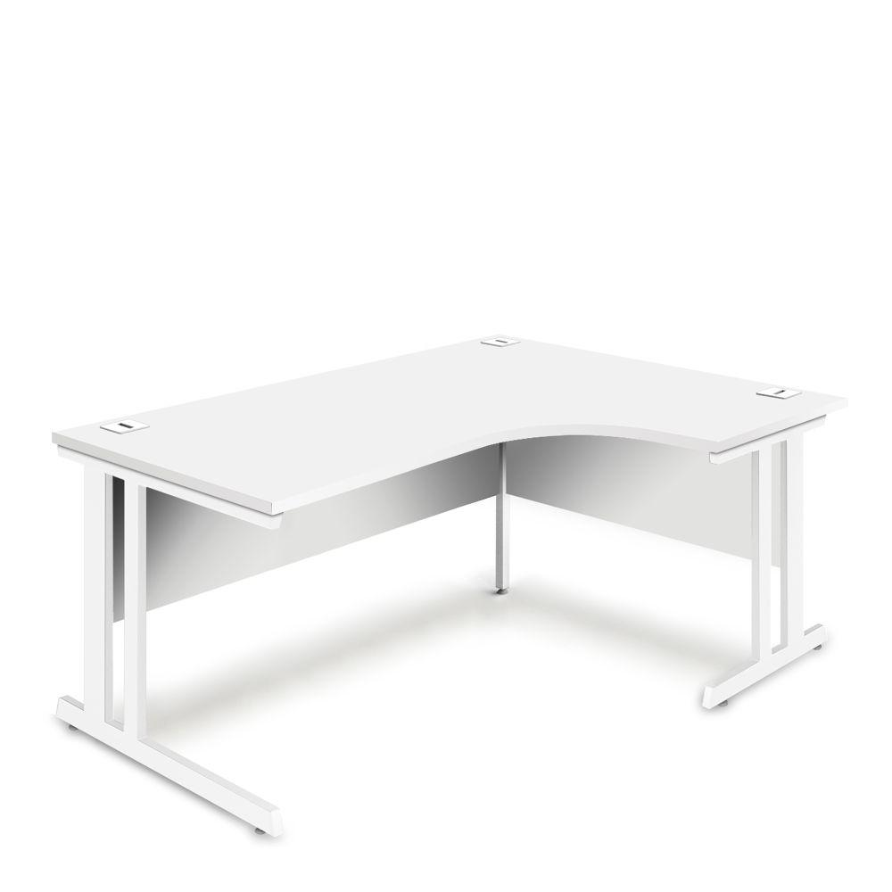 Aspire Ergonomic Right Hand Corner Desk - 1600mm Wide - 800-1200mm Deep - White Top - White Legs