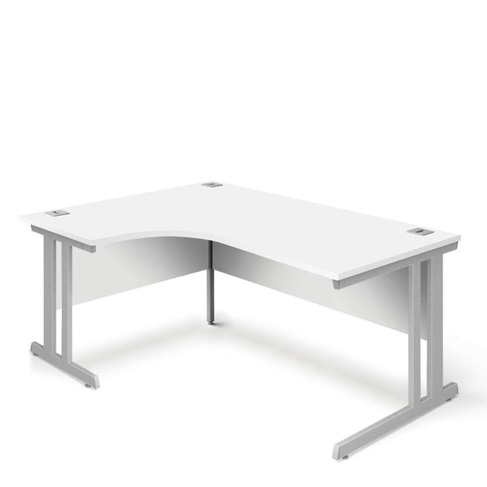 Aspire Ergonomic Left Hand Corner Desk - 1800mm Wide - 800-1200mm Deep - White Top - Silver Legs