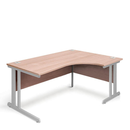 Aspire Ergonomic Right Hand Corner Desk - 1800mm Wide - 800-1200mm Deep - Beech Top - Silver Legs