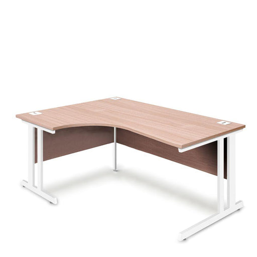 Aspire Ergonomic Left Hand Corner Desk - 1800mm Wide - 800-1200mm Deep - Beech Top - White Legs
