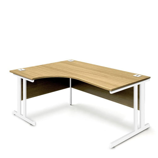 Aspire Ergonomic Left Hand Corner Desk - 1800mm Wide - 800-1200mm Deep - Oak Top - White Legs