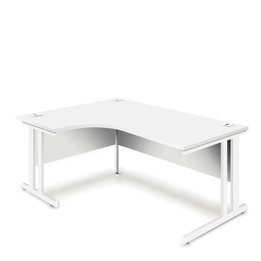 Aspire Ergonomic Left Hand Corner Desk - 1800mm Wide - 800-1200mm Deep - White Top - White Legs